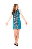 Young slim pretty woman in blue dress posing Royalty Free Stock Image