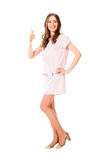 Young Slim Pretty Woman In Pink Dress Posing Stock Photo