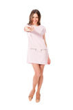 Young slim pretty woman in pink dress posing Royalty Free Stock Image