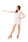 Young slim pretty woman in pink dress posing Royalty Free Stock Photography