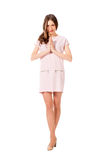 Young slim pretty woman in pink dress posing Royalty Free Stock Photos