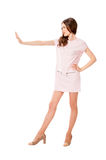 Young slim pretty woman in pink dress posing Royalty Free Stock Images