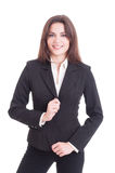 Young slim and business woman fixing suit jacket royalty free stock images