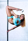 Slim pole dance woman Royalty Free Stock Photos