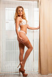Young slim sexy woman in lingerie against the window Royalty Free Stock Images