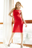Young slim sexy woman in red dress Stock Images
