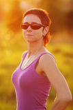 Young slim sporty woman with glasses Royalty Free Stock Photos