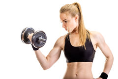 Young slim strong muscular woman posing in studio Royalty Free Stock Photo