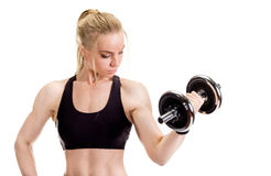 Young slim strong muscular woman posing in studio Royalty Free Stock Photography