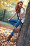 Young slim woman autumn portrait Royalty Free Stock Images