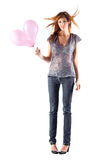 Young slim woman with balloons Stock Photo