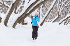 Young slim woman jogging in winter park Stock Image