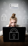 Young slim woman with laptop. Forgot password concept. Young slim woman is using a laptop to browse the net. Forgot password concept Royalty Free Stock Photos