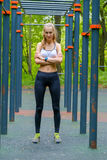 Young slim woman sports portrait on the training ground Stock Image