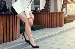 Young slim woman wearing high heels Stock Photo