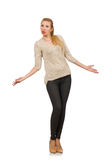 Young slim woman on white Royalty Free Stock Photography