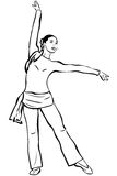 Young slip of a girl that engages in a gymnastics. A young slip of a girl that engages in a gymnastics Stock Image
