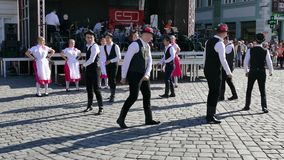 Young Slovakian folk dancers perform at one show in Timisoara, Romania 1 stock footage