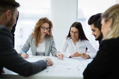Young smart business people meeting in business office stock photography