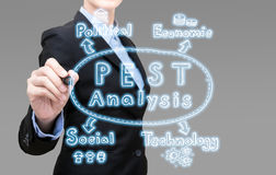 Young Smart business woman writing PEST analysis idea concept. Stock Image
