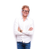 Young smart casual man wearing jeans and glasses Royalty Free Stock Photo