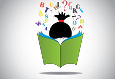 Young smart girl kid reading 3d green open book ed. Ucation concept. black haired child with book studying & learning for exams & fun with alphabets and numbers Stock Photo