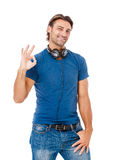 Young smart man showing OK sign Stock Photography