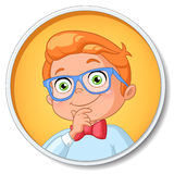 Young smart student boy in glasses thinking. Vector illustration Stock Photography