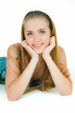Young smile. Young adult pretty girl lies and smiles Royalty Free Stock Image