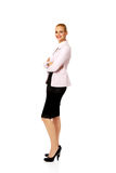 Young smile business woman with covering arms.  Stock Photos
