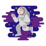 Astronaut. Young smile cute cosmonaut astronaut in spacesuit which fly in free space between stars cosmic clouds. Flying conquest man into space. Modern vector Stock Photo