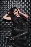 Young smile lady in black clothes stock photo