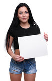 Young smile woman showing blank placard Royalty Free Stock Image