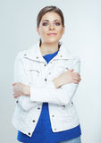 Young smile woman white background poses. Young mo Royalty Free Stock Photography