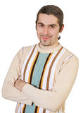 Young smiley handsome male in sweater isolated. Young smiling dark haired caucasian man in striped sweater isolated on white Royalty Free Stock Photos
