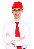 Young smiling architect isolated on white Royalty Free Stock Photos