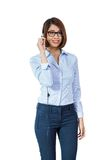Young smiling asian businesswoman call center agent isolated Stock Images