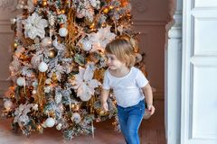 Young girl near a Christmas tree Stock Images
