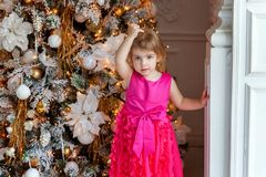 Young girl near a Christmas tree Royalty Free Stock Photo