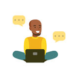 Young smiling black man sitting on the floor communicating in social networks colorful character vector Illustration Royalty Free Stock Photo