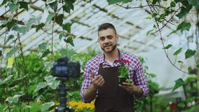 Young smiling blogger man florist in apron holding flower talking and recording video blog for his online vlog about. Young smiling blogger man florist in apron stock photo