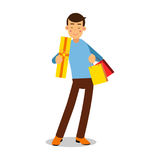 Young smiling blonde man in light blue pullover standing with with purchases cartoon character vector Illustration. Isolated on a white background Royalty Free Stock Image