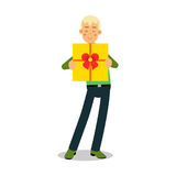 Young smiling blonde man standing with yellow gift box cartoon character vector Illustration Royalty Free Stock Images