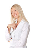 Young smiling blonde in a white Stock Photography