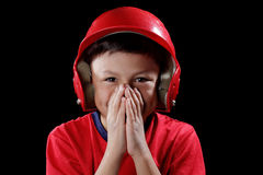 Young smiling boy with baseball helmet Stock Images