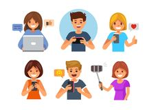 Young smiling boy and girl holding gadgets. Vector flat style Stock Photography
