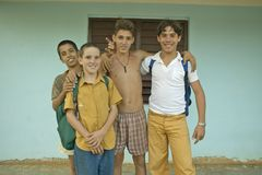 Young smiling boys in the Valle de Vi�ales, in central Cuba Stock Photography