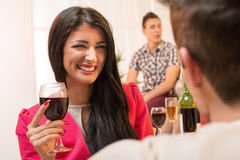 Young Smiling Brunette Flirting Royalty Free Stock Image