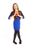 Young smiling brunette girl holding three apples Royalty Free Stock Photo