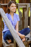 Young smiling brunette woman Stock Photography